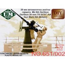 Oerlikon 20mm /70 (0/79 inch) AA Gun Mark IIIA (Britain) (HP650-002)
